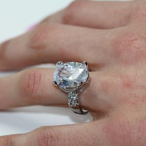 925S Large Oval White Topaz Engagement Fun Ring